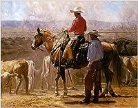 手描き-キャンバスの油絵 - cowboys and their cattles at farm オリジナル作品 芸術 作品 洋画 米国西部 ANW1 ホームデコレーション -サイズ15