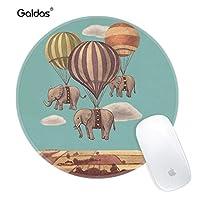 GaldasマウスパッドElephant Flying with Hot Air Balloonマウスパッドラウンドアートプリント快適ゴムベースコンピュータノートパソコン用マウスパッド(更新されたバージョン)
