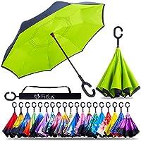 Fidus 2層逆さ傘 防風 防水 UV保護 自立式 逆さま 車 ゴルフ アウトドア 雨傘 C型ハンドル付き