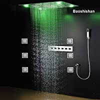 5 Way Diverter Valve LED Shower Set Luxury Faucet Ceiling Mounted Rain Waterfall Shower Head Set Massage Shower Body Jet