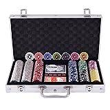 Costway ポーカーチップ チップ 300枚 ポーカーセット カジノチップ トランプ付き シルバーケース