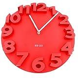 (ホワイトフェニックス) 時計 壁掛け ウォールクロック 3D 立体 電池付 35cm wf-23 (03.赤)