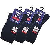 (ハルサク) HARUSAKU 児童 園児 スクールソックス 子供 用 無地 紺 白 靴下 セット 13 ~ 21cm 男の子 女の子 (16cm-18cm, 紺(3足セット))