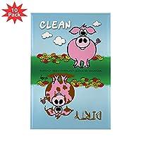 CafePress - 001 豚 食洗機 - 長方形マグネット 2インチ x 3インチ 冷蔵庫用マグネット (10個パック)