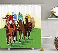 """馬インテリアシャワーカーテンby Ambesonne、カラフルな競争シーンwith騎手とRacing Horses Equineレトロアートワーク、ファブリックバスルームDecorセットwithフック、マルチカラー 69"""" W By 75"""" L sc_39344_long"""