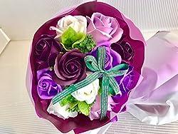 フレグランス シャボンフラワー ソープフラワー 薔薇 枯れない 花 ブーケ プレゼント 花束 母の日 父の日 出産祝い 結婚祝い お見舞い 誕生日 石鹸 香り ギフト お祝い ラッピング 包装 ギフトバック付き (パープルブーケ)