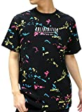 B ONE SOUL(ビーワンソウル) Tシャツ 総柄 プリント ロゴ 半袖 メンズ ブラック L