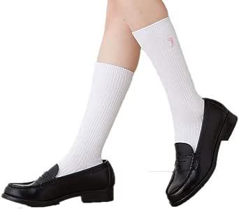 スクール刺繍ハイソックス (長さ35cm丈・27cm丈) 白 黒 紺 日本製 22-24cm 靴下 ワンポイント刺繍 ひざ下