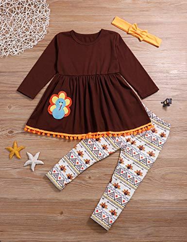 itkidboy Thanksgiving Day Clothing Sets Kids Baby Girls Turkey Print Dress Shirt Long Sleeve Tops + Pants Legging Toddler Outfits Set(2-3T) Brown