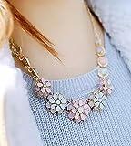 【Jewel-Moon】 ビジュー ネックレス パステル フラワー 可愛い お花のモチーフ パール髪留めセット