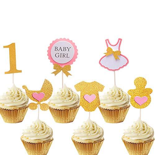 JeVenis ファーストバースデー トッパーセット 6点セット ケーキ デコレーション 1才 1歳 一才 一歳 誕生日 記念撮影 赤ちゃん アルバム プレゼント 女の子 1歳 誕生日 ケーキの装飾 ケーキトッパー BABY GIRL1st パーティー 祝