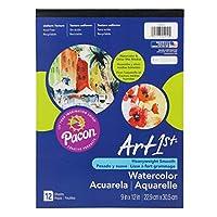 Artist Watercolor Paper Pad, 9 x 12, White, 12 Sheets/Pad (並行輸入品)