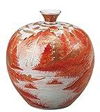 九谷焼 7号花瓶 赤絵山水 :福田良則