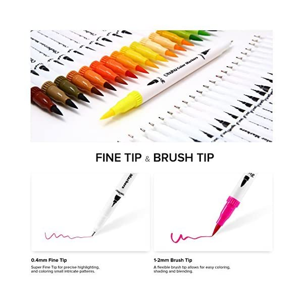 Ohuhu Art Markers Dual Tips Coloring Brush Fineliner Color Pens, 60 Colors of Water Based Marker for Calligraphy Drawing Sketching Coloring Book Bullet Journal Art Mother's Day Back to School Gifts 2