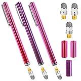 aibow タッチペン スマートフォン タブレット スタイラスペン iPad iPhone Android 3本+ペン先3個 6mm (レッド+パープル+ピンク)