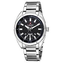 BINZI ビジネス ステンレススチール腕時計 スタンダード 日常生活防水 NV-9038 メンズ (ホワイト&ブラック)