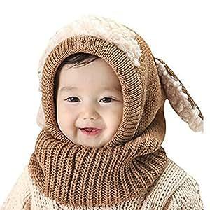 iCasso赤ちゃん帽子  ベビー キッズ 子供用の可愛いウサギちゃん風 ニット帽子 選べる3色 冬の可愛いニット帽 防寒・保温 (ブラウン)