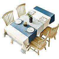 北欧スタイルのコットンリネンのテーブルクロス長方形のコーヒーテーブルのテーブルクロスブルーストライプのリビングルーム小さなコーヒーテーブルのテーブルマット (サイズ さいず : 130cm*180cm)
