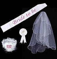 FyueウェディングシャワーNight Party Bride To Beバッジロゼットサッシガーターベールセット