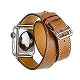 エルメス 時計 アップルストラップウォッチ、アップルウォッチ用のフライホイールiWatch本革の交換時計バンド (二重丸ブラウン38)
