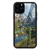 iPhone 11 Pro Max 用 強化ガラスケース クリア 薄型 耐衝撃 黒 カバーケース 山 雪山湖 iPhone 11 Pro 2019用 iPhone11ケース用