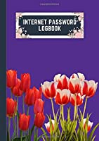 internet password logbook: a5 5.83x8.27 cute internet password book | cool internet password logbook paper with page numbers and A-Z index | internet password logbook | internet password notebook journal paper | tulip spring flower royal purple color