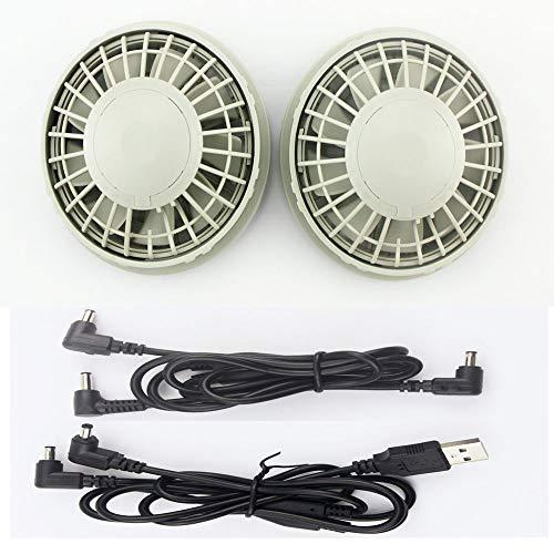 空調服専用ファン ファンユニット ライトグレー NSP互換品 USBケーブル DCケーブル 電池ボックスなし 熱中症対策 日本語取扱い説明書付き グレー
