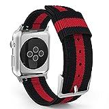 Apple Watch バンド - ATiC Apple Watch 42mm 2015 /Apple Watch 2 42mm(series 2 2016)用 編みナイロン製腕時計ストラップ/バンド/交換ベルト+バンドアダプター/交換ラグ Black+Red (38mmに対応ない)
