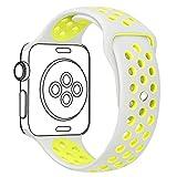 YOLOVIE For Apple Watch スポーツバンド アップルウォッチ バンド ストラップ シリコーン交換バンド 全機種対応 Apple Watch Series 1 / Series 2 / Nike+ / Edition 適用 【42mm、銀+黄、S/M】
