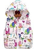 ナナコレクション Nana_Collection 秋 キッズ 子供 キュート 柄 フリル フード ポケット 中綿 ダウン ベスト ホワイト 100cm
