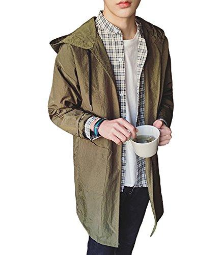 (Gxbo) メンズ ウインド ブレーカー 薄手 夏 コート ジャケット 男女 ダスター 日焼け止め服 全4色 (2XL, グリーン)