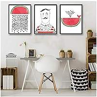 Zhaoyangeng 北欧漫画スイカ男ポスター印刷Hd夏写真壁アートリビングルームキャンバス絵画部屋の装飾自宅で-50X70Cmx3枠なし