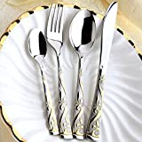 20 Pcs 18/10 Stainless Steel 18K Gold Plated Cutlery Dinnerware Set- Royal Style