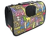 ペット キャリー バッグ 折りたたみ 式 ネコ 柄 犬 猫 動物 お出かけ 旅行 搬送 持ち運び 用 (1. Sサイズ)