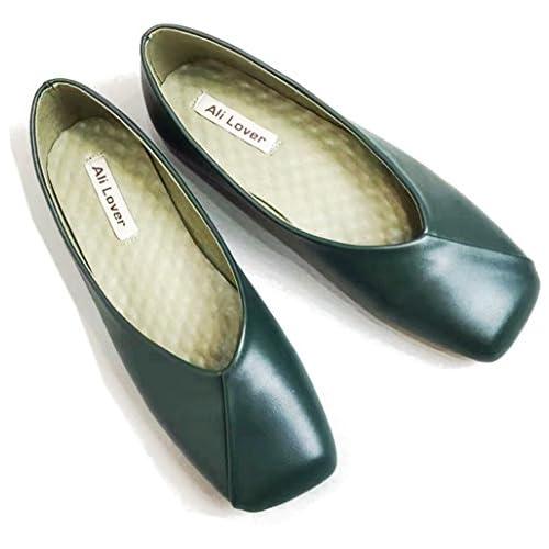 Youchan(ヨウチャン) シンプル スクエアトゥ フラット パンプス ローヒール 靴 シューズ レディース (38(24.0cm),グリーン)
