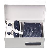 Achy JP ネクタイ ピン カフスボタン チーフ 収納ボックス 5点セット 結婚式 二次会 パーティー 収納ボックス付き 全5色
