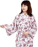 和ざらし レッド Lサイズ ガーゼ 寝巻き 婦人用 二重袷 綿100% お寝巻 ねまき パジャマ 浴衣 旅館 介護 女性 レディース