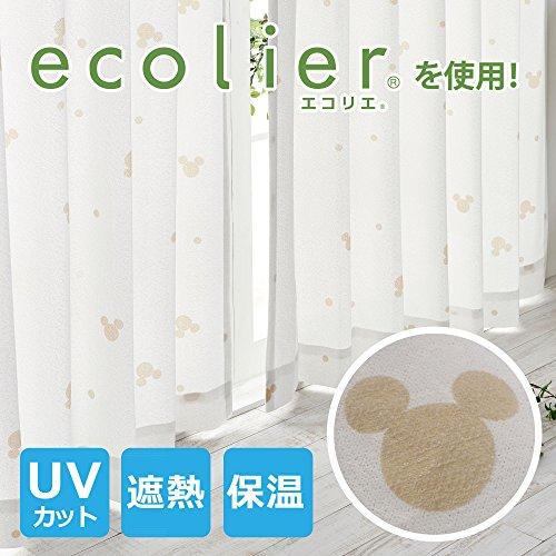 ミッキー ミラーレースカーテン 帝人ecolier(R) 使用!遮熱・遮像・UVカットカーテン 2枚組 幅100×198cm丈[SB-391]