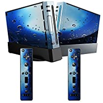 Water Drops, Skin Sticker Vinyl Cover with Leather Effect Laminate and Colorful Design for Nintendo Wii by Virano [並行輸入品]