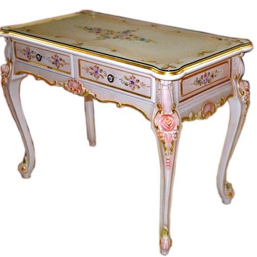 輸入家具:お姫様のロココ調家具:お花のデスク2304