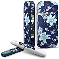 IQOS 2.4 plus 専用スキンシール COMPLETE アイコス 全面セット サイド ボタン デコ フラワー 花 フラワー 水色 青 ブルー 008641