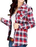 (アリルチョウ) チェック シャツ レディース 長袖 胸 ポケット 付き きれいめ 柄 ファッション トップス 赤 レッド XXL サイズ