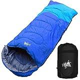 丸洗いのできる寝袋 ワイドサイズ 封筒型 最低使用温度 -5℃ コンパクト収納袋付き シュラフ 寝袋 オールシーズン (ブルー)