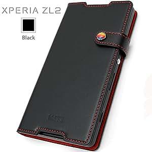 【au Xperia ZL2 SOL25 専用】【LIM'S正規品】 Xperia ZL2専用 本革 ダイアリー レザーケース (ブラック)