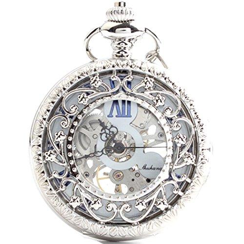『手巻き式 懐中時計 フックチェーン + ボールチェーン/ 革紐 + 化粧箱 セット (シルバー)』のトップ画像