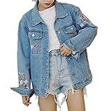 JunRuo デニム ジャケット 花柄 刺繍 ジャケットデニム レディース Gジャン カジュアル ゆったり ダメージ 大きいサイズ ヘアアクセサリー付き (S)