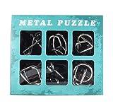 知恵の輪 METAL PUZZLE 6点セット ちえの輪 パズル 知育 脳トレ (②ブルー単品)