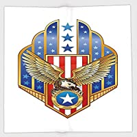 Cotton Microfiber Hand TowelEagleHeraldic Illustration of Symbol of Freedom Golden Winged Eagle with Flag of States DecorativeGold Red Bluefor Kids Teens and AdultsOne Side Printing [並行輸入品]