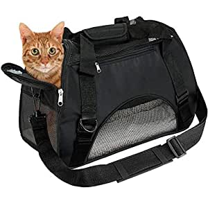 EVELTEK ペット用 キャリーバッグ 3way ショルダー 猫・小型犬用 キャリーバッグ・スリング 愛犬と旅行にぴったり ペット用マット付き (S・ブラック)