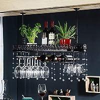 CHRDW ワインラック金属壁掛けワインラックぶら下げカウンターカップホルダーワイングラスゴブレットラック高さ調節可能な30〜60センチ棚用レストラン、バー(クリスタルペンダントを含む) (Color : Black, Size : 80x25cm)